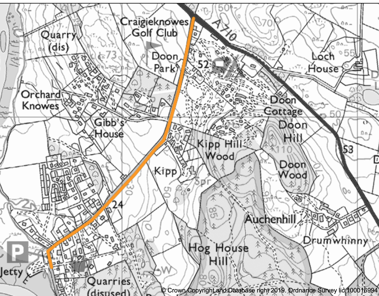 Map showing road works